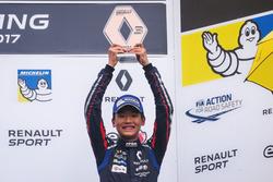 Yi Fei Ye with Trophy, Josef Kaufmann Racing