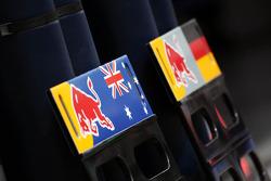Pit boards for Mark Webber, Red Bull Racing and Sebastian Vettel, Red Bull Racing