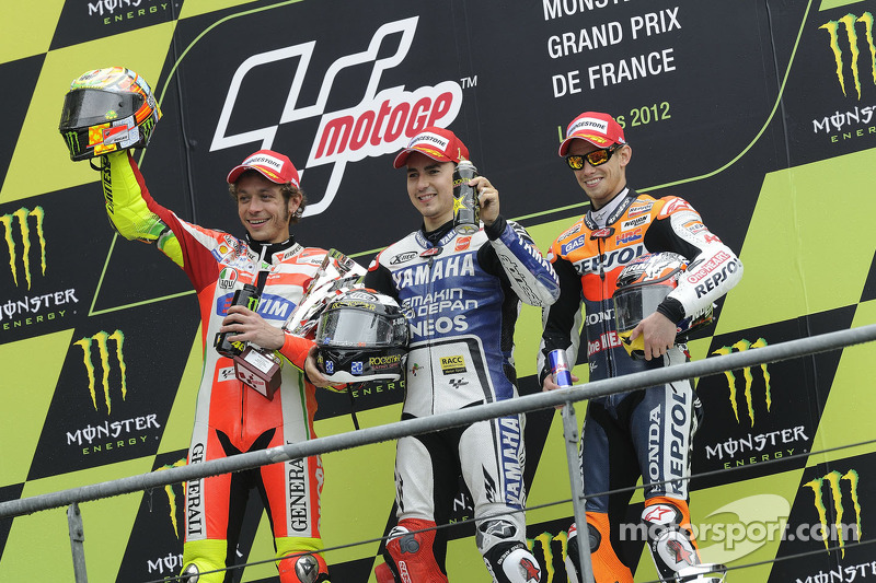2012: Podio: 1. Jorge Lorenzo, 2. Valentino Rossi, 3. Casey Stoner