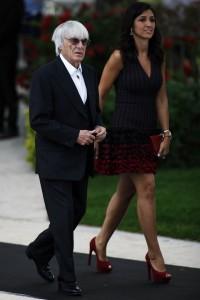 Bernie Ecclestone, CEO Formula One Group, with fiance Fabiana Flosi