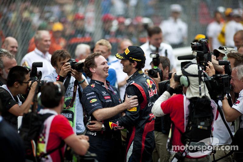 Christian Horner, Red Bull Racing Team Principal celebrates with race winner Mark Webber, Red Bull R