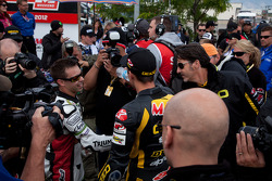 Jason DiSalvo congratulates Martin Cardenas after his SportBike win