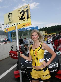 Grid girl of Edoardo Mortara, Audi Sport Team Rosberg Audi A5 DTM