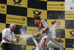 Podium, Arno Zensen, Audi Sport Team Rosberg and Edoardo Mortara, Audi Sport Team Rosberg Audi A5 DTM