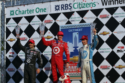 Race winner Scott Dixon, second place Dario Franchitti, third place Simon Pagenaud