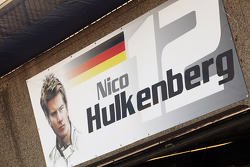 Pit garage sign for Nico Hulkenberg, Sahara Force India F1