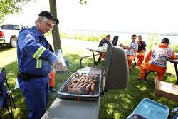 Marshalls enjoy a barbecue