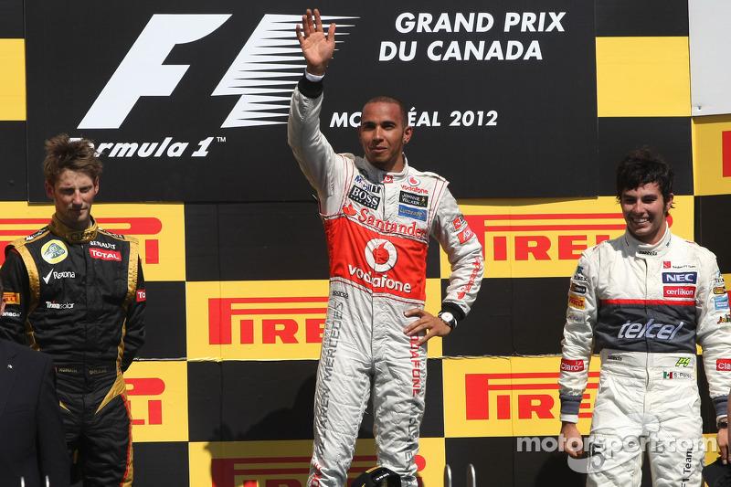 Romain Grosjean, Lotus F1 Team, Lewis Hamilton, McLaren Mercedes Mercedes en Sergio Perez, Sauber F1