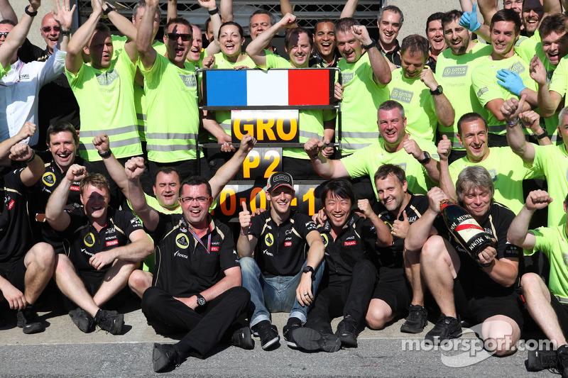 Eric Boullier en Romain Grosjean, Lotus F1 Team en team