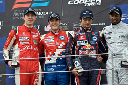 Podium from left: Alex Lynn, Jack Harvey Carlos Sainz Jr. and Duvashen Padayachee