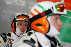 Sahara Force India F1 Team mechanics watch the race