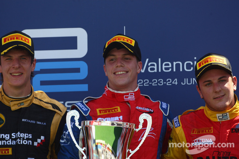 Podium: race winner Luiz Razia, second place James Calado, third place Fabio Leimer