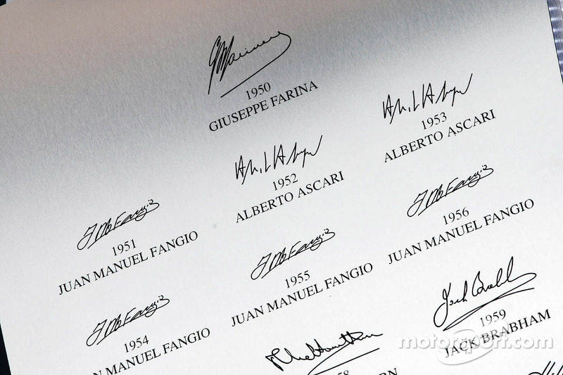 Signatures of early F1 World Champions