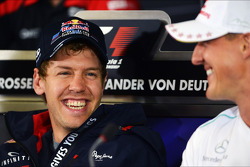 Sebastian Vettel, Red Bull Racing with Michael Schumacher, Mercedes AMG F1 in the FIA Press Conference