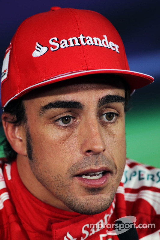 Pole sitter Fernando Alonso, Scuderia Ferrari in the FIA Press Conference