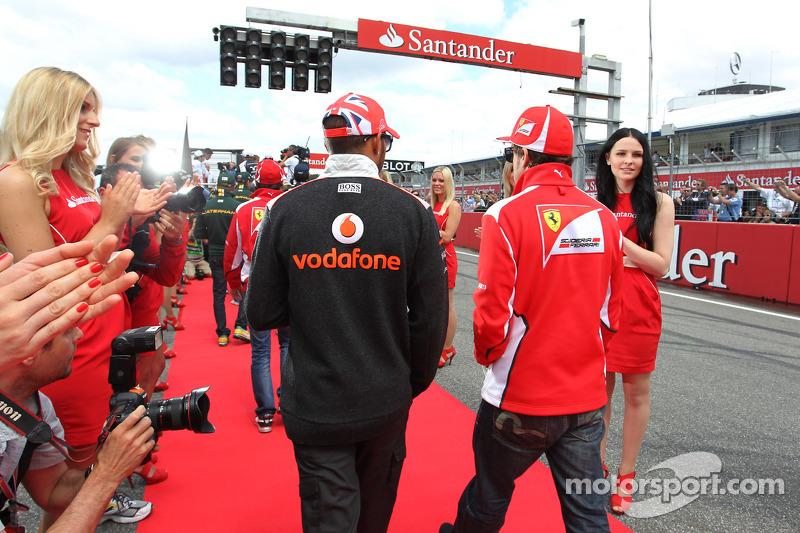 Lewis Hamilton, McLaren with Fernando Alonso, Ferrari on the drivers parade