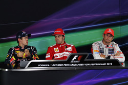 The FIA Press Conference, Sebastian Vettel, Red Bull Racing, second; Fernando Alonso, Ferrari, race winner; Jenson Button, McLaren, third