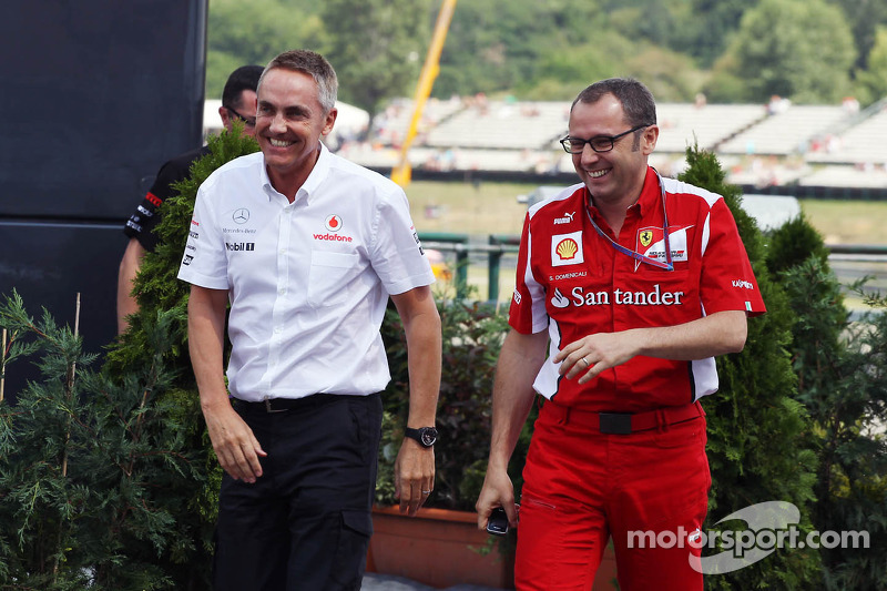 Martin Whitmarsh, McLaren Chief Executive Officer and Stefano Domenicali, Ferrari General Director leave a meeting with Bernie Ecclestone, CEO Formula One Group