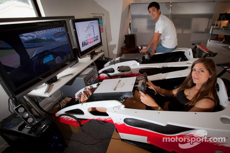 Cyndie Allemann and Hideto Yasuoka in a racing simulator