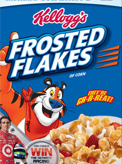 Dario Franchitti on the front of Kellogg's Frosted Flakes cereal box