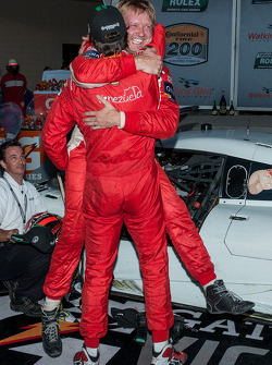 Race winners Lucas Luhr and Ryan Dalziel celebrate