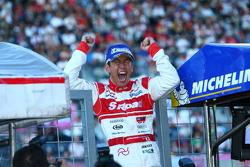 GT500 winner Masataka Yanagida celebrates