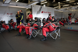 Audi mechanics watch the race