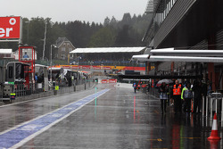 A empty pit lane during the second session