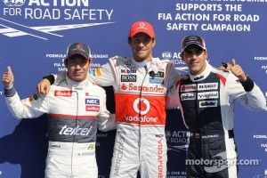 pole for Jenson Button, McLaren Mercedes with 2nd for Kamui Kobayashi, Sauber F1 Team and 3rd Pastor Maldonado, Williams F1 Team