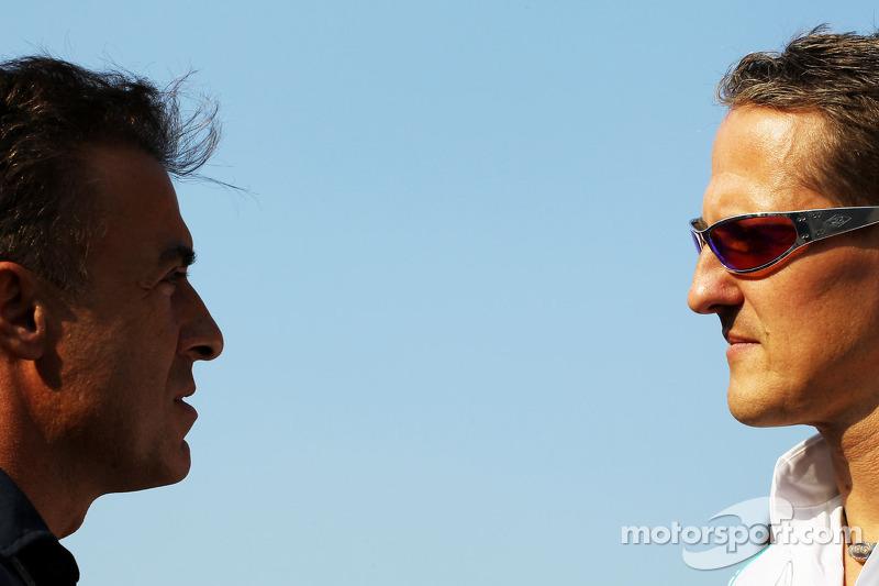 Jean Alesi, with Michael Schumacher, Mercedes AMG F1