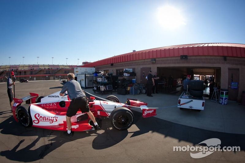 Car of Justin Wilson, Dale Coyne Racing Honda at technical inspection