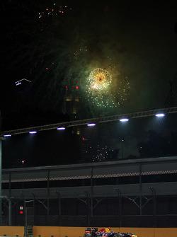 Race winner Sebastian Vettel, Red Bull Racing with fireworks in the sky