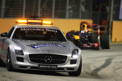 Sebastian Vettel, Red Bull Racing leads behind the Safety Car