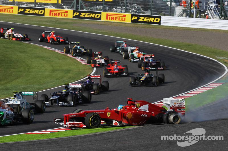 Pouco depois, um outro acidente (desta vez com Raikkonen) o fez perder muito terreno no campeonato.