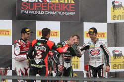 Podium: race winner Tom Sykes, second place Jonathan Rea, third place Sylvain Guintoli with 2012 champion Max Biaggi