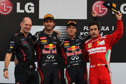Adrian Newey, Red Bull Racing Chief Technical Officer with 1st place Sebastian Vettel, Red Bull Raci