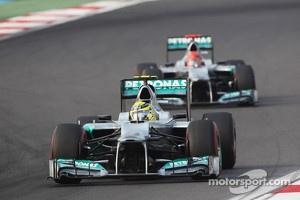 Nico Rosberg, Mercedes AMG F1 leads team mate Michael Schumacher, Mercedes AMG F1