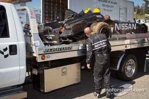 Damage on the #0 Nissan DeltaWing Project 56 Nissan after a heavy crash