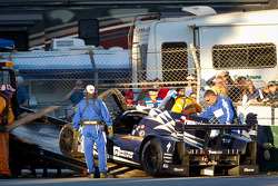 Aftermath of the #27 Dempsey Racing Lola B12/87 Judd: Patrick Dempsey, Joe Foster, Dane Cameron crash