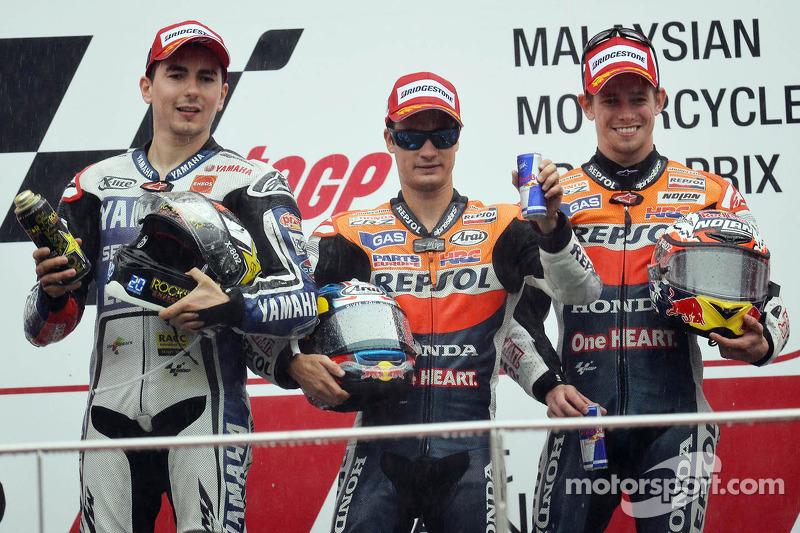 2012: 1. Dani Pedrosa, 2. Jorge Lorenzo, 3. Casey Stoner