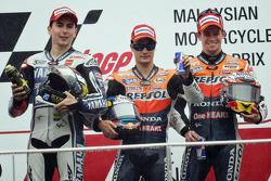 Podium: race winner Dani Pedrosa, Repsol Honda Team, second place Jorge Lorenzo, Yamaha Factory Racing, third place Casey Stoner, Repsol Honda Team