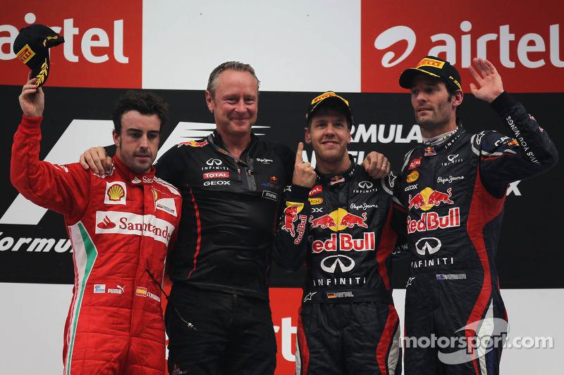 Podium: race winner Sebastian Vettel, Red Bull Racing with second place Fernando Alonso, Scuderia Ferrari and third place Mark Webber, Red Bull Racing