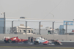 Lewis Hamilton, McLaren, Jenson Button, McLaren and Fernando Alonso, Ferrari battle for position