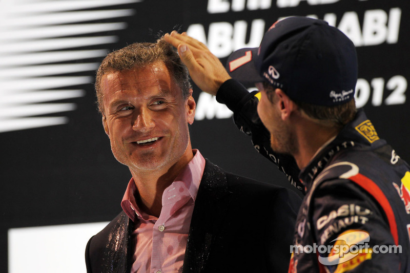David Coulthard, Red Bull Racing and Scuderia Toro Advisor / BBC Television Commentator with Sebastian Vettel, Red Bull Racing on the podium
