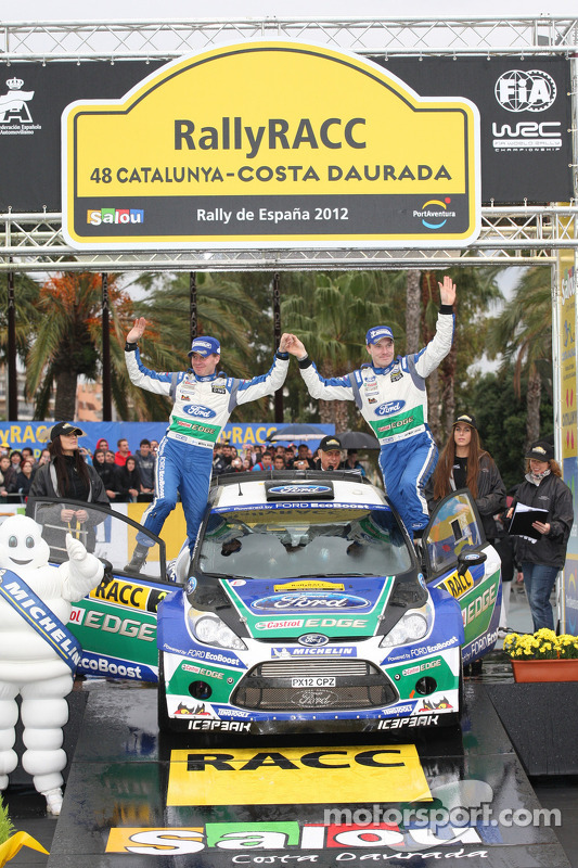Podium: Jari-Matti Latvala en Miikka Anttila, Ford Fiesta RS WRC, Ford World Rally Team
