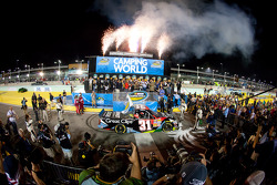 Championship victory lane: NASCAR Camping World Series 2012 champion James Buescher, Turner Motorsports Chevrolet celebrates