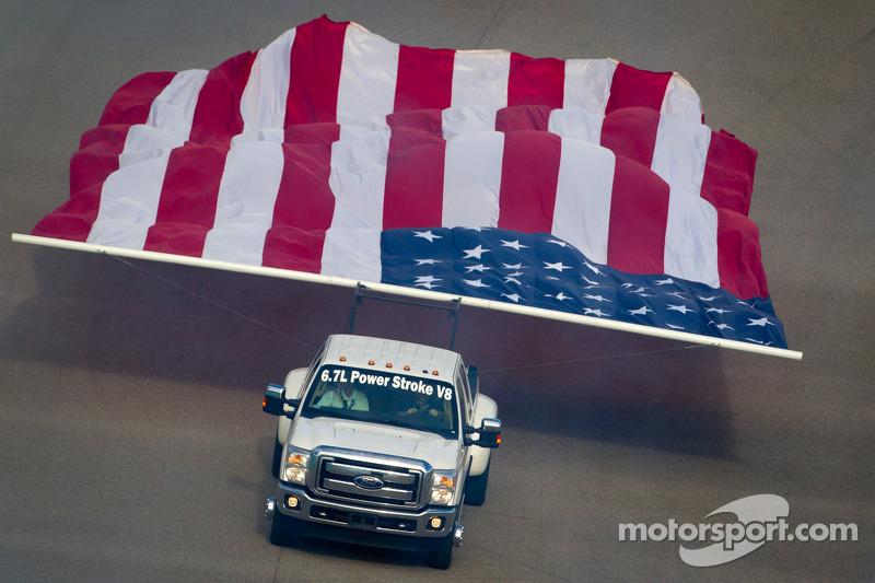 American flag parade