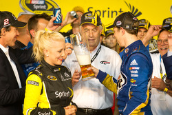Championship victory lane: 2012 NASCAR Sprint Cup Series champion Brad Keselowski, Penske Racing Dodge celebrates with Roger Penske