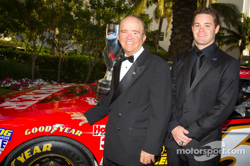 NASCAR Nationwide Series champion driver Ricky Stenhouse Jr., Roush-Fenway Ford poses with Jack Roush