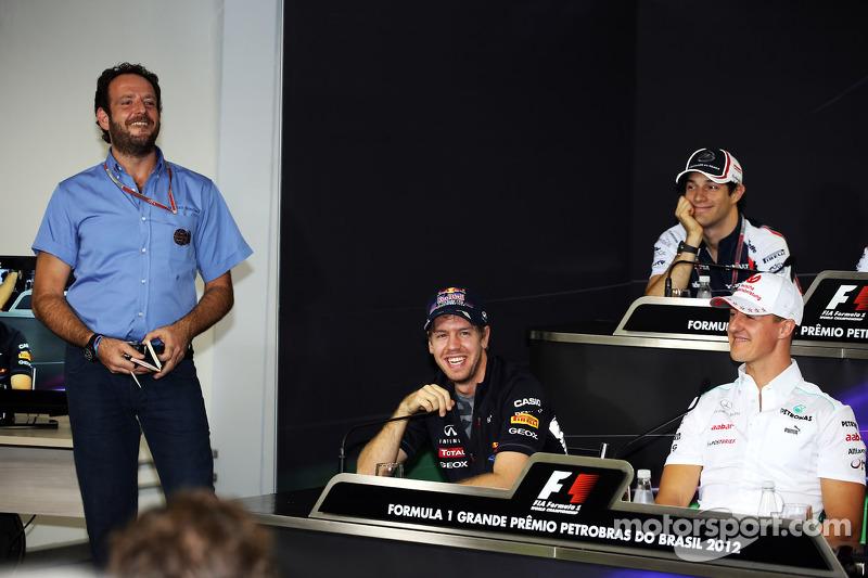 Sebastian Vettel, Red Bull Racing and Michael Schumacher, Mercedes AMG F1 in the FIA Press Conferenc